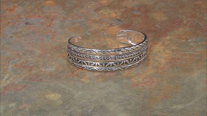 Rhodium Over Silver Southwestern Cuff Bracelet