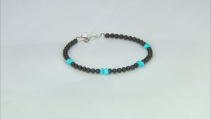 Black Spinel & Sleeping Beauty Turquoise Sterling Silver Bracelet