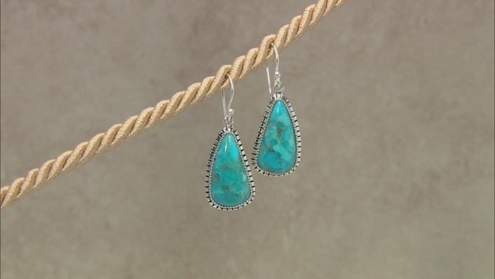 Blue Fancy Shape Turquoise Rhodium Over Sterling Silver Earrings