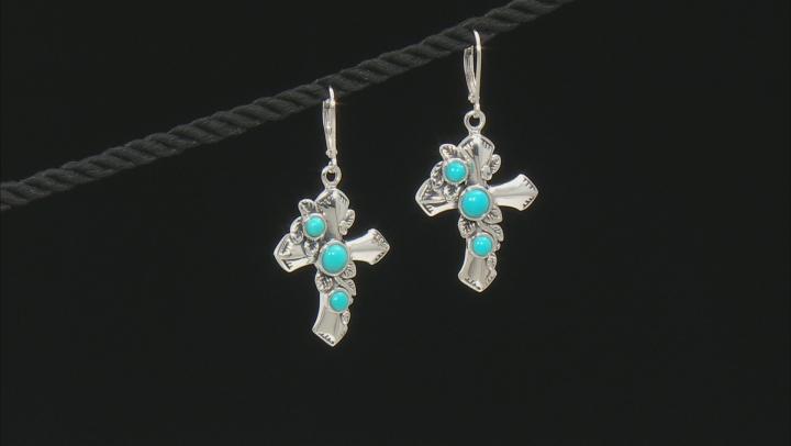 Round Sleeping Beauty Rhodium Over Sterling Silver Cross Dangle Earrings