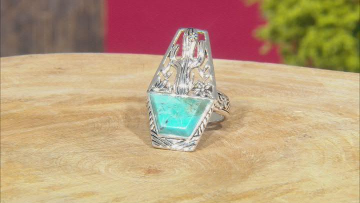 Custom Shape Blue Turquoise Rhodium Over Silver Cactus Ring