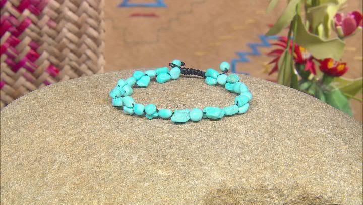 Blue Turquoise Beaded Bolo Bracelet