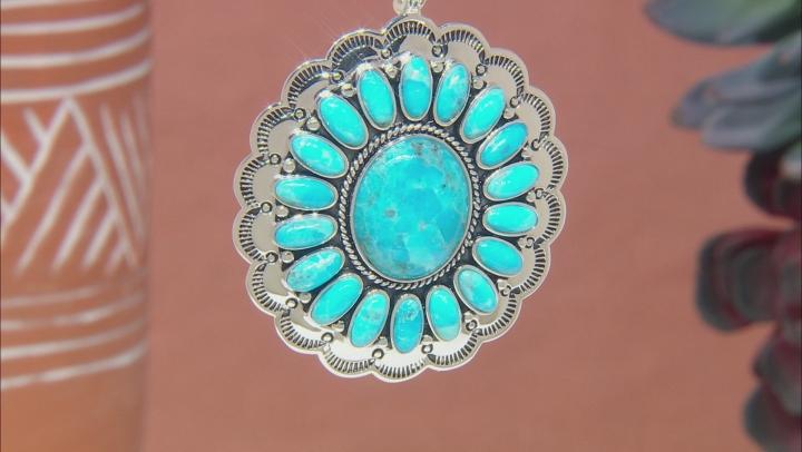 Blue Kingman Turquoise Sterling Silver Enhancer