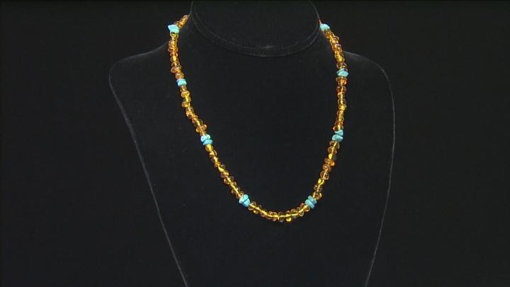 Orange Amber Chip Sterling Silver Necklace