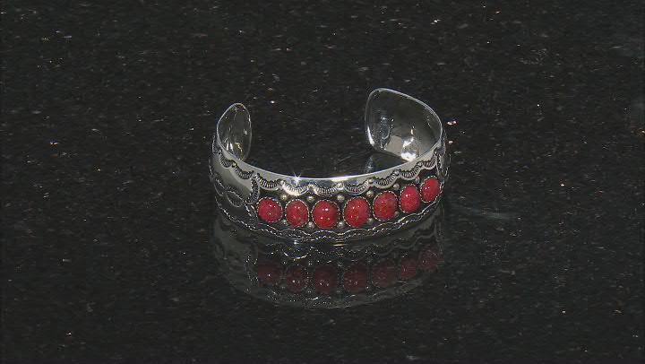 Red sponge coral silver bracelet