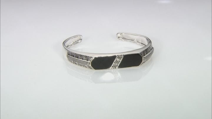 Mens Inlaid Black Onyx Rhodium Over Sterling Silver Cuff Bracelet