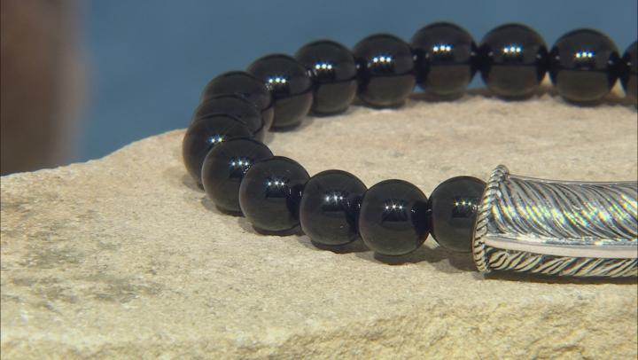 Mens Black Onyx Rhodium Over Sterling Silver Stretch Bracelet