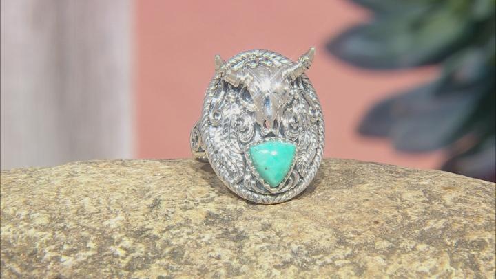 Mens 8mm Trillion Turquoise Rhodium Over Silver Longhorn Cattle Skull Ring