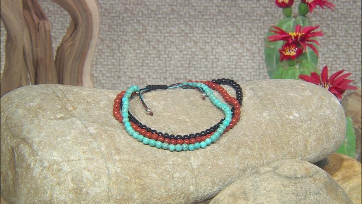 Mens Black Onyx, Red Jasper, And Turquoise  Bead Multi-Row Bolo Bracelet