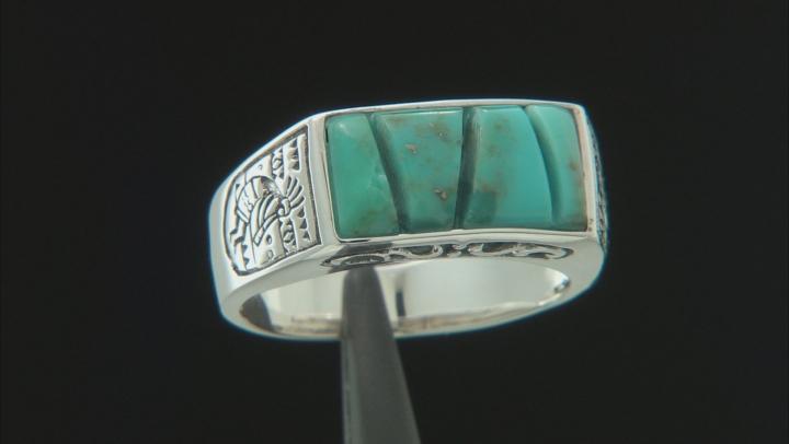 Mens Turquoise Rhodium Over Silver Kokopelli Ring