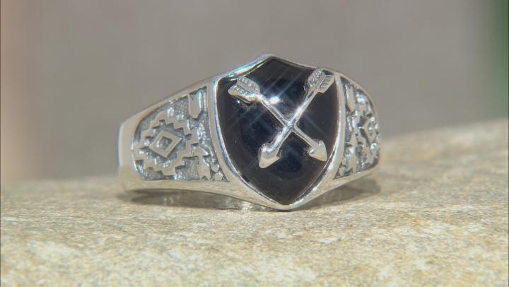 Mens Black Onyx Rhodium Over Silver Arrow Overlay Ring