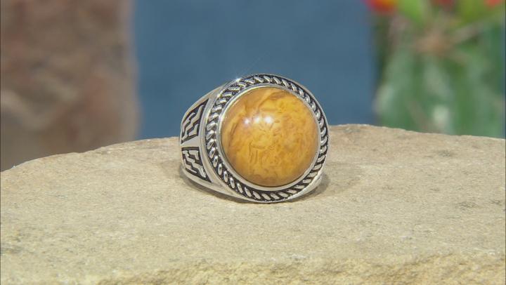 Mens Yellow Jasper Rhodium Over Silver Solitaire Ring