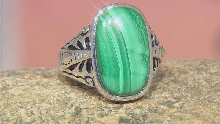 Mens Malachite Rhodium Over Silver Solitaire Ring