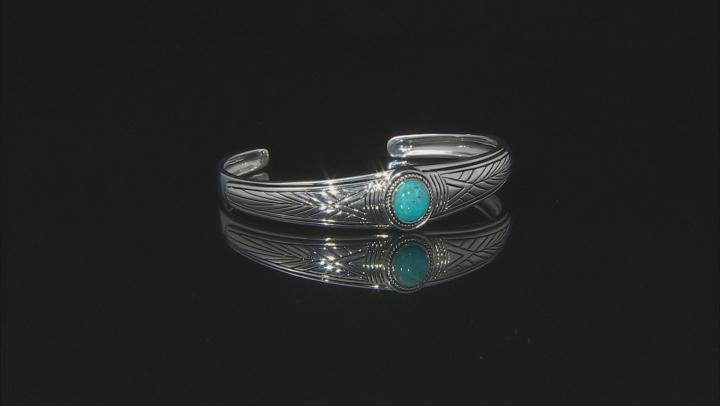 Mens Turquoise Rhodium Over Silver Bracelet