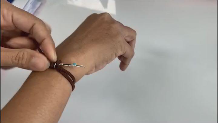 Turquoise Imitation Leather & Rhodium Over Silver Charm Set of Bracelets