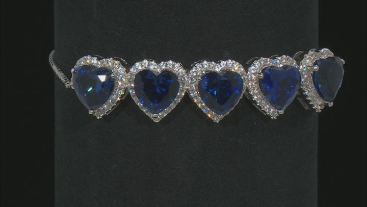 Blue Lab Created Sapphire And White Zircon Silver Sliding Adjustable Bracelet 15.60ctw