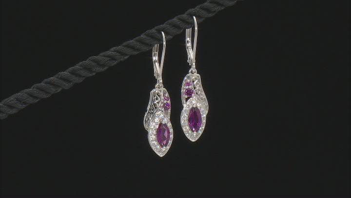 Purple Rhodolite Rhodium Over Sterling Silver Dangle Earrings 1.98ctw