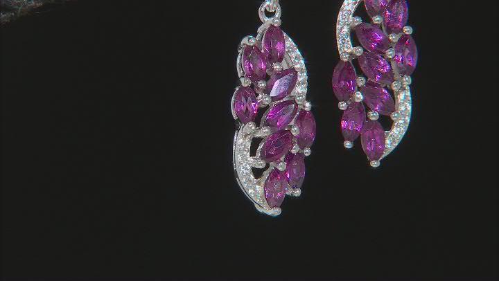 Raspberry Color Rhodolite Rhodium Over Silver Earrings 3.00ctw