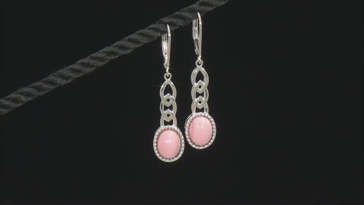 Pink Mookaite Rhodium Over Sterling Silver Earrings