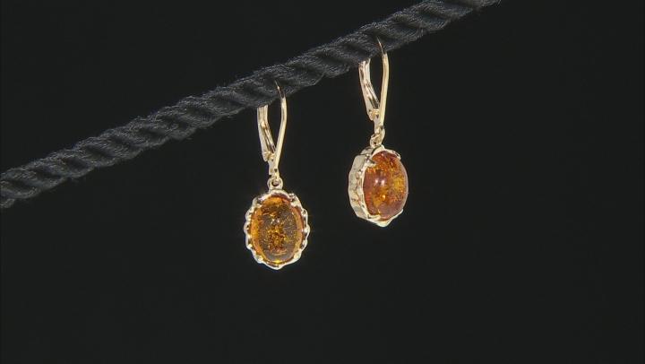 Orange Amber 18K Yelloiw Gold Over Sterling Silver Earrings