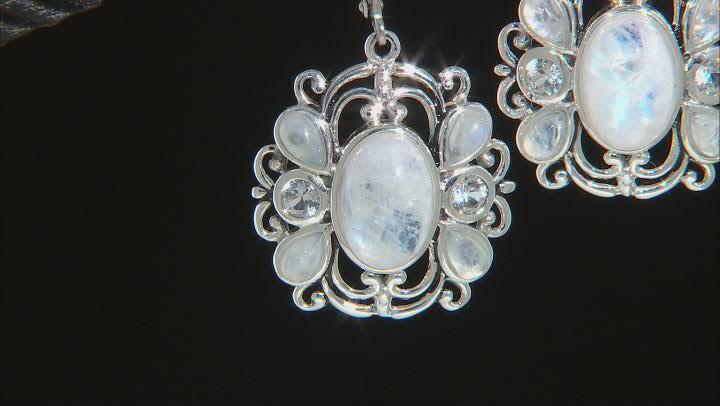 White Rainbow Moonstone Rhodium Over Silver Dangle Earrings 0.68ctw