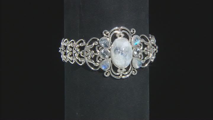 White Rainbow Moonstone Rhodium Over Sterling Silver Bracelet 1.02ctw