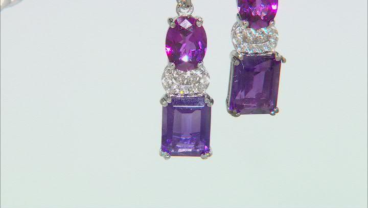 Purple African Amethyst Rhodium Over Sterling Silver Earrings 7.11ctw