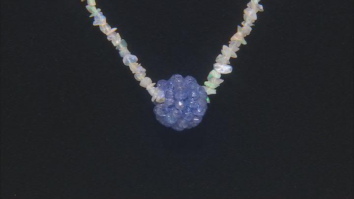 Blue Tanzanite Rhodium Over Sterling Silver Necklace