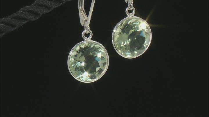 Green Prasiolite Rhodium Over Sterling Silver Earrings 10.29ctw