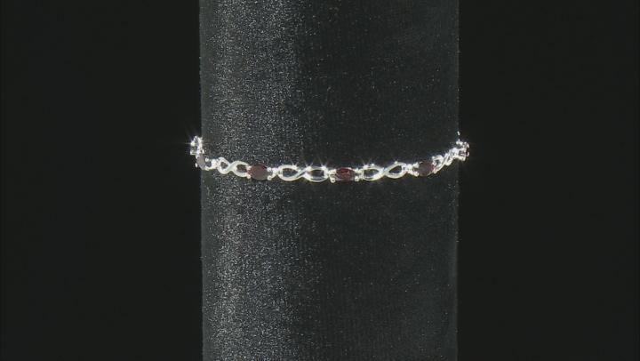 Marquise Red Vermelho Garnet(TM) Rhodium Over Sterling Silver Bracelet 2.80ctw
