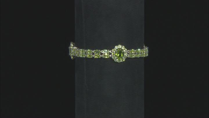 Green Peridot Rhodium Over Sterling Silver Bracelet 14.21ctw