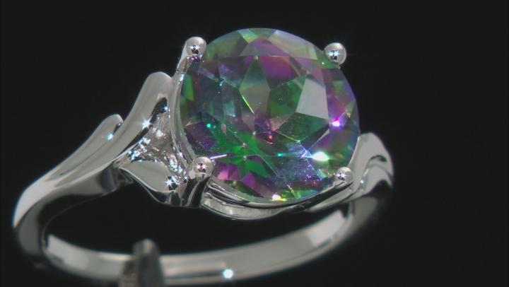 Multi-Color Quartz Rhodium Over Sterling Silver Ring 2.98ct