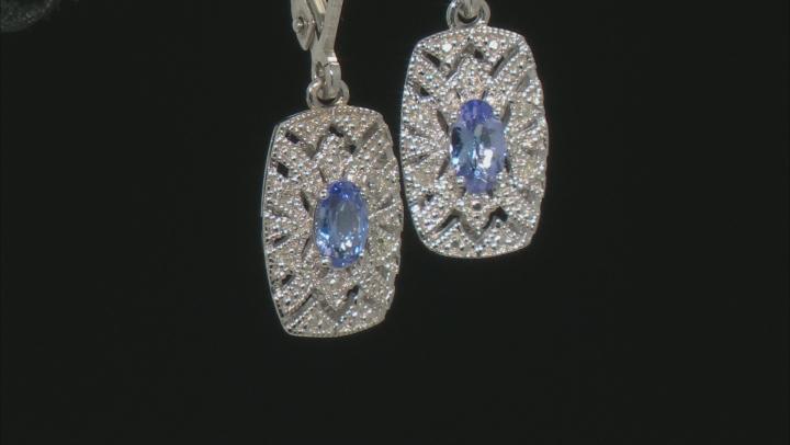 Blue Tanzanite Rhodium Over Sterling Silver Dangle Earrings .41ctw