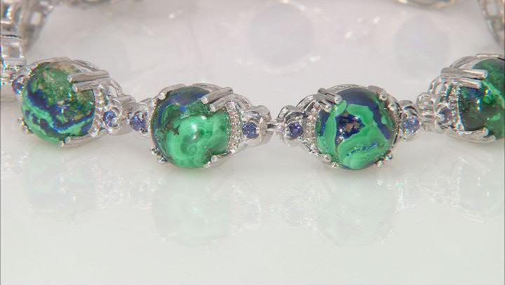Blue Azurmalachite Rhodium Over Sterling Silver Bracelet 0.56ctw