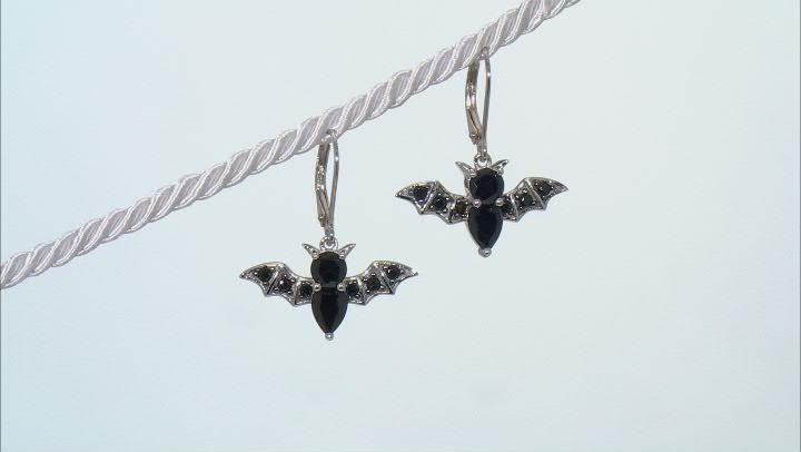 Black Rhodium Over Sterling Silver Bat Dangle Earrings 2.95ctw