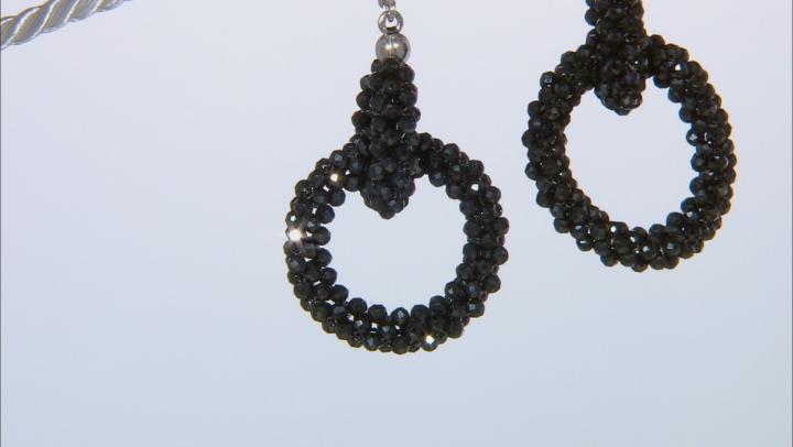 Black Spinel Rhodium Over Sterling Silver Dangle Earrings