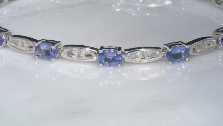 Blue Tanzanite Rhodium Over Sterling Silver Bracelet 7.35ctw