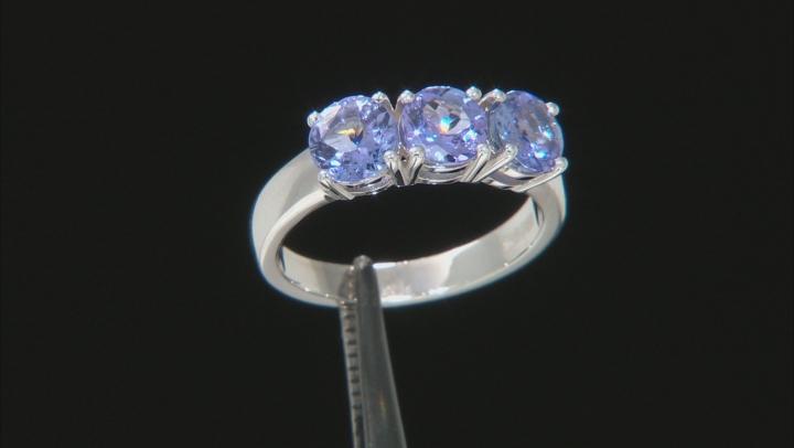 Blue Tanzanite Rhodium Over Sterling Silver 3-stone Ring 1.60ctw