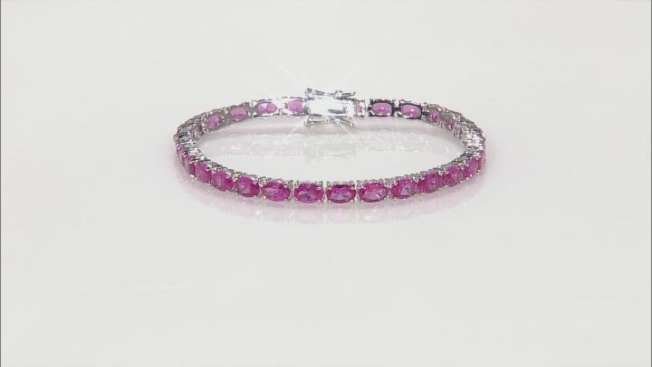 Pink Lab Sapphire Sterling Silver Tennis Bracelet 11.48ctw