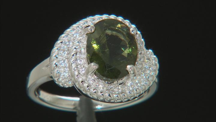 Green Moldavite Sterling Silver Ring 1.65ctw