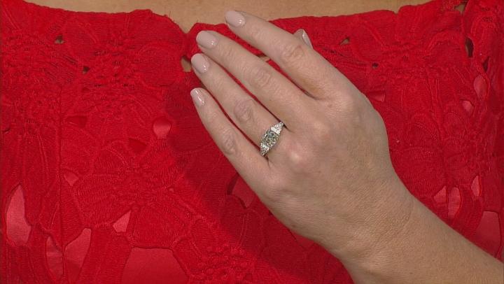 White Fabulite Strontium Titanate Sterling Silver Ring 3.89ctw