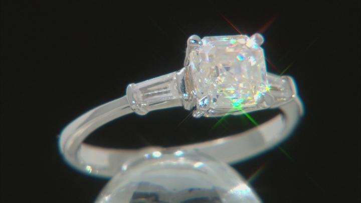 Fabulite Strontium Titanite And White Zircon Rhodium Over Sterling Silver Ring 1.65ctw