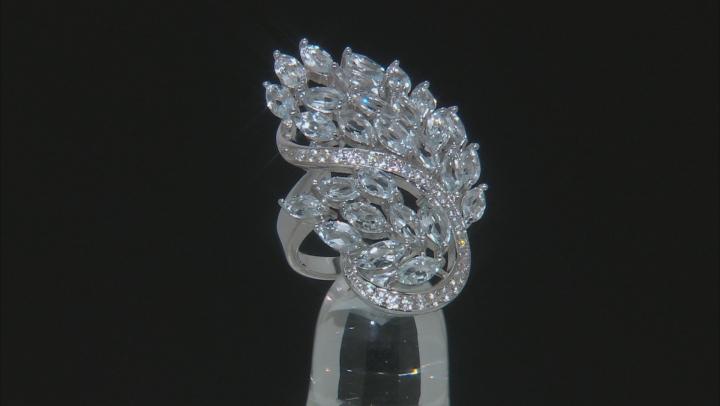 Blue Aquamarine Sterling Silver Ring 6.42ctw