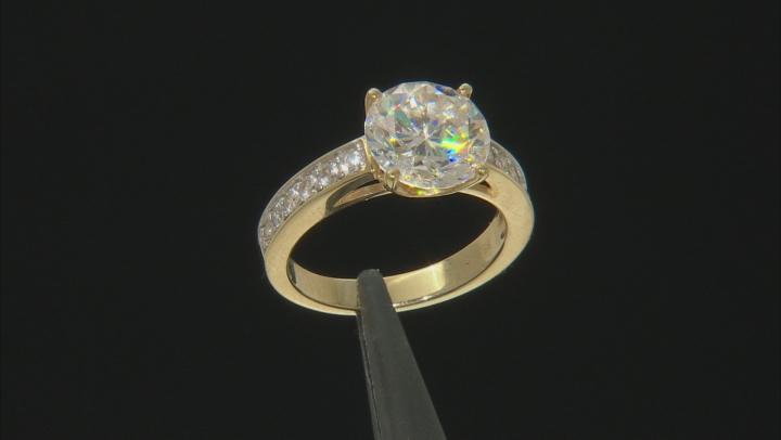 Fabulite Strontium Titanate and white zircon 10k Yellow Gold Ring 5.38ctw