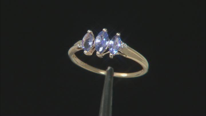 Blue Tanzanite 10k Yellow Gold Ring .46ctw