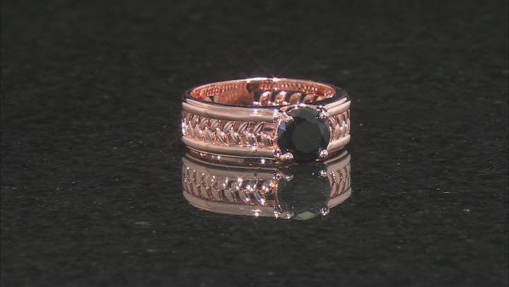 Black Spinel Copper Men's Ring 1.84ct