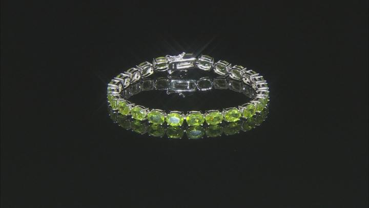 Green Peridot Rhodium Over Sterling Silver bracelet 20.53ctw