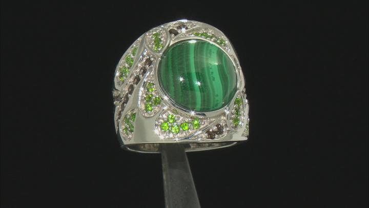 Green malachite rhodium over silver ring .77ctw