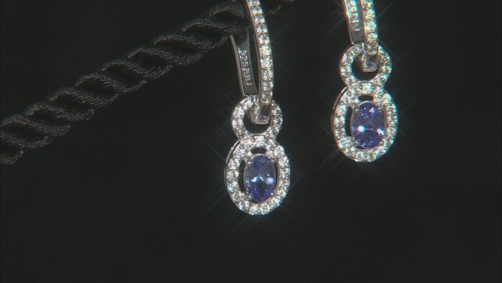 Blue tanzanite rhodium over silver earrings 1.41ctw