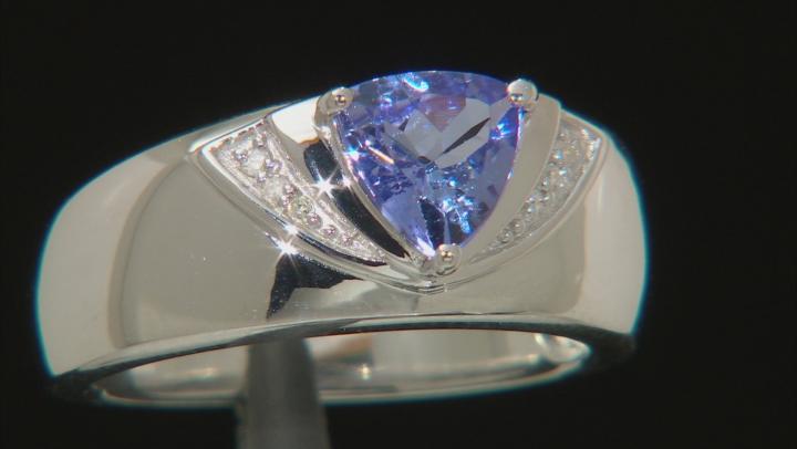 Blue tanzanite rhodium over silver ring .84ctw